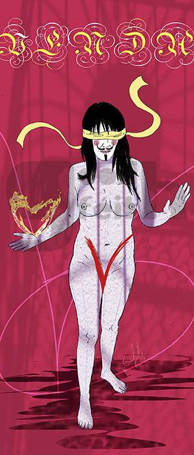 Exposición: V de Vagina. Ilustración: V de Venda. Goodféith