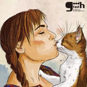 Ilustración Chica con gato