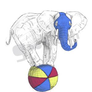 Exposición: HayVariasVecesUnCirco. Ilustración: Elefante